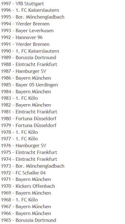 Liste deutsche Pokalsieger 1965-1997
