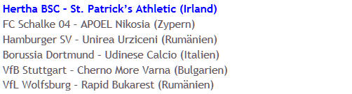 Hertha BSC in UEFA-Cup Hauptrunde gegen St. Patrick's Athletic