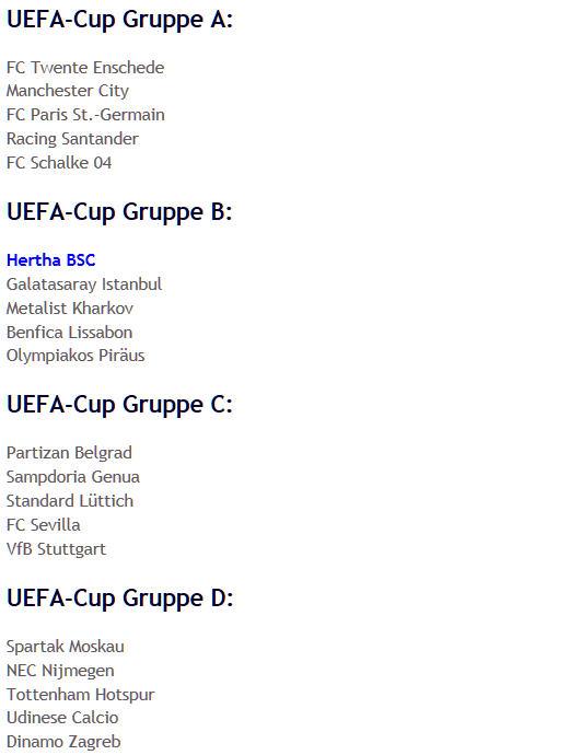 Auslosung UEFA-Cup-Gruppen A-D 2008