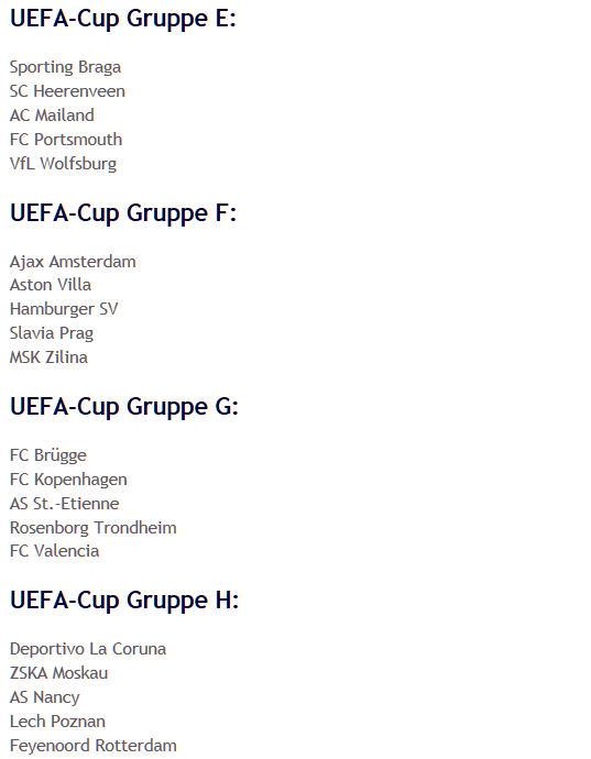 Auslosung UEFA-Cup-Gruppen E-H 2008