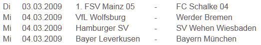 Termine DFB-Pokal Viertelfinale