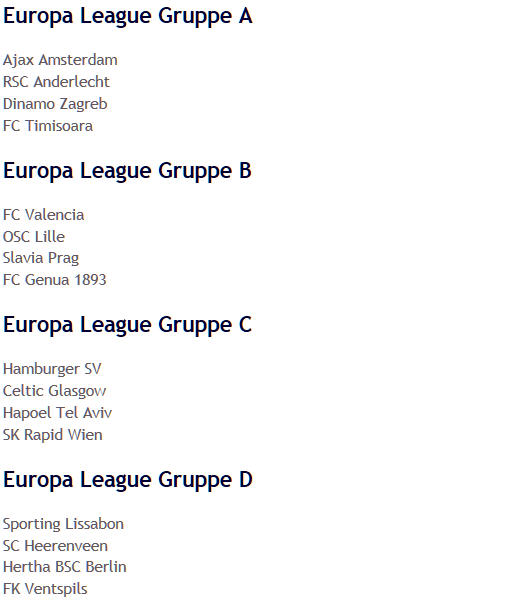 UEFA-Europa-League-Gruppen 2009 A-D
