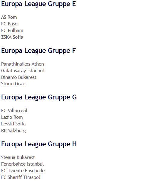 UEFA-Europa-League-Gruppen 2009 E-H