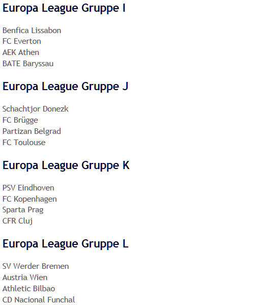UEFA-Europa-League-Gruppen 2009 I-L