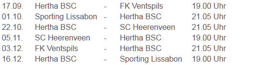 Hertha Lissabon Heerenveen Ventspils UEFA-Europa-League