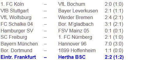 Rechenschieber ade Eintracht Frankfurt Hertha BSC