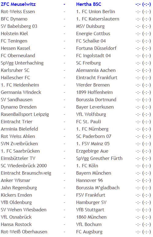 Hertha BSC ZFC Meuselwitz Spielansetzung DFB-Pokal