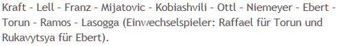 Mannschaftsaufstellung Hertha BSC 1. FC Nürnberg