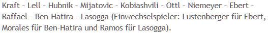 Mannschaftsaufstellung Hertha BSC Bayern München