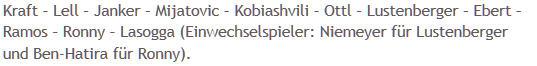 Mannschaftsaufstellung Hertha BSC 1. FC Kaiserslautern