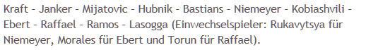 Mannschaftsaufstellung Hertha BSC FC Augsburg