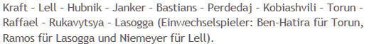 Mannschaftsaufstellung Hertha BSC 1. FC Köln