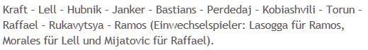 Mannschaftsaufstellung Hertha BSC Werder Bremen