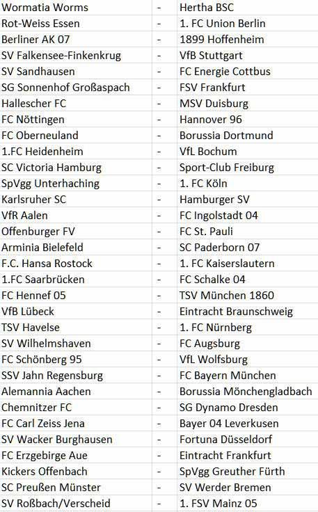 Auslosung DFB-Pokal 1. Runde 2012-2013