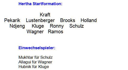 Mannschaftsaufstellung Hertha BSC FC Ingolstadt 04