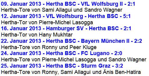 alle Ergebnisse Hertha BSC Testspiele Winterpause 2013