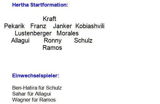 Mannschaftsaufstellung Hertha BSC 1860 München