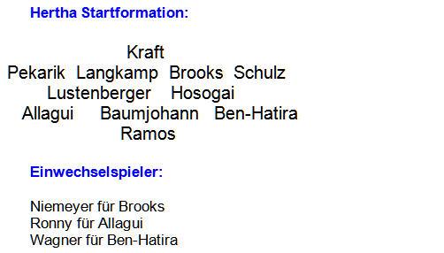 Mannschaftsaufstellung Hertha BSC Hamburger SV