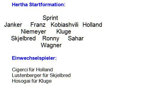 Mannschaftsaufstellung Testspiel Hertha BSC Erzgebirge Aue