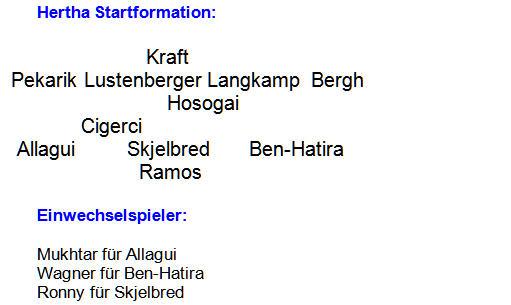 Mannschaftsaufstellung Hertha BSC Bayer 04 Leverkusen