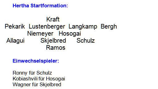 Mannschaftsaufstellung Hertha BSC Eintracht Frankfurt