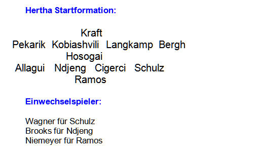 Mannschaftsaufstellung VfB Stuttgart Hertha BSC 1:2 2014