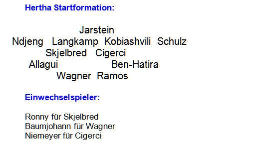 2014 - Mannschaftsaufstellung Hertha BSC FC Schalke 04