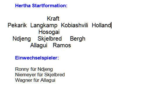 2014 Mannschaftsaufstellung Hertha BSC 1. FSV Mainz 05