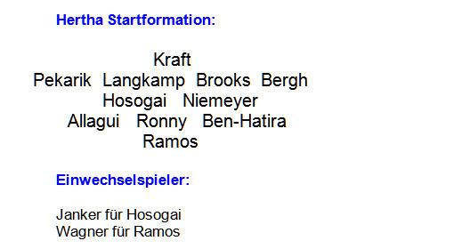 2014 - Mannschaftsaufstellung Hertha BSC Borussia Mönchengladbach