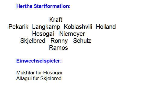 2014 - Mannschaftsaufstellung Hertha BSC Hannover 96
