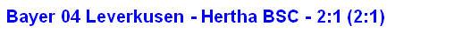 2014 - Spielergebnis Bayer 04 Leverkusen - Hertha BSC - 2:1