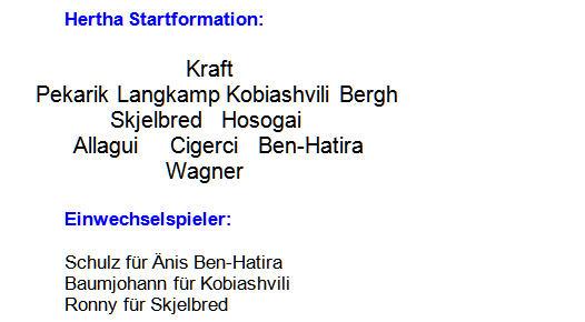 2014 - Mannschaftsaufstellung Hertha BSC Bayer 04 Leverkusen