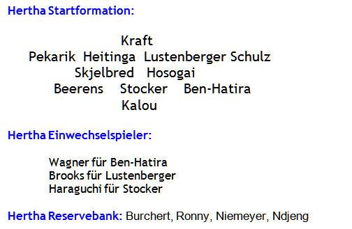 Oktober 2014 - Mannschaftsaufstellung Hertha BSC - FC Schalke 04
