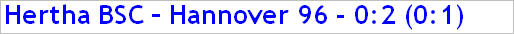 November 2014 - Spielergebnis - Hertha BSC - Hannover 96 - 0:2