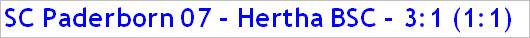 November 2014 - Spielergebnis - SC Paderborn 07 - Hertha BSC - 3:1