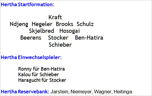 Dezember 2014 - Mannschaftsaufstellung Bayern München - Hertha BSC