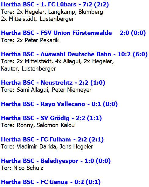Testspiele Hertha BSC Sommer 2015 Freundschaftsspiele