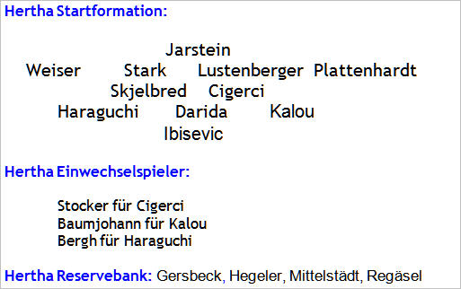 September 2015 - Mannschaftsaufstellung - Hertha BSC - Eintracht Frankfurt