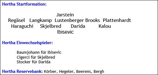 November 2015 - Mannschaftsaufstellung - Hertha BSC - FC Bayern München