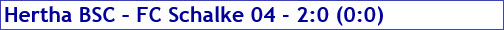 September 2016 - Spielergebnis - Hertha BSC - FCSchalke04 - 2:0