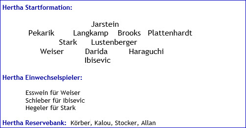 September 2016 - Mannschaftsaufstellung - Hertha BSC - FC Ingolstadt 04