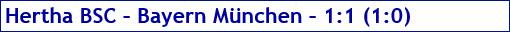 Februar 2017 - Spielergebnis - Hertha BSC - Bayern München - 1:1