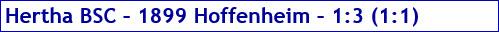 April 2017 - Spielergebnis - Hertha BSC - 1899 Hoffenheim - 1:3