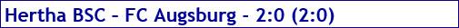 April 2017 - Spielergebnis - Hertha BSC - FC Augsburg - 2:0