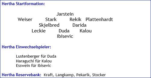 September 2017 - Mannschaftsaufstellung - Hertha BSC - Bayer 04 Leverkusen