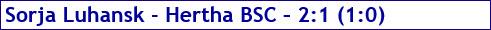 Oktober 2017 - Spielergebnis - Sorja Luhansk - Hertha BSC - 2:1