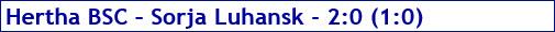 November 2017 - Spielergebnis - Hertha BSC - Sorja Luhansk - 2:0
