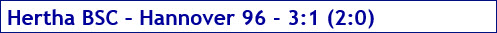 Dezember 2017 - Spielergebnis - Hertha BSC - Hannover 96 - 3:1