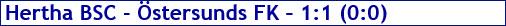 November 2017 - Spielergebnis - Hertha BSC - Östersunds FK - 1:1