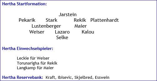 Dezember 2017 - Mannschaftsaufstellung - Hertha BSC - Hannover 96